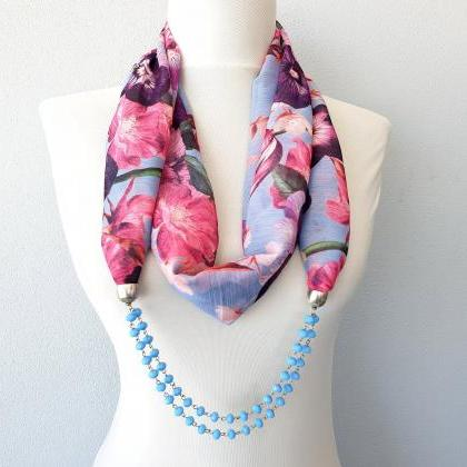 Blue beaded scarf necklace, floral ..