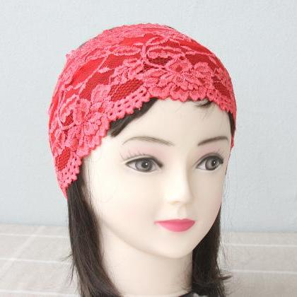 Coral red elastic lace headband adu..