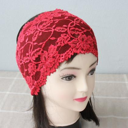 Red bohemian headband adult women