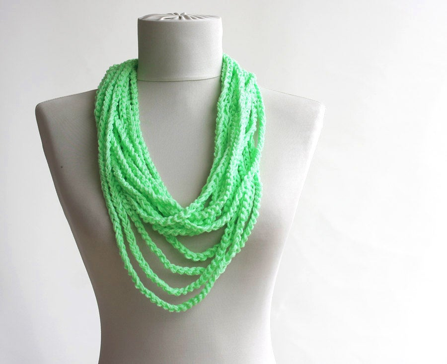 Skinny scarf Mint seafoam green Mothers day gift Infinity scarf necklace spring summer fashion vegan
