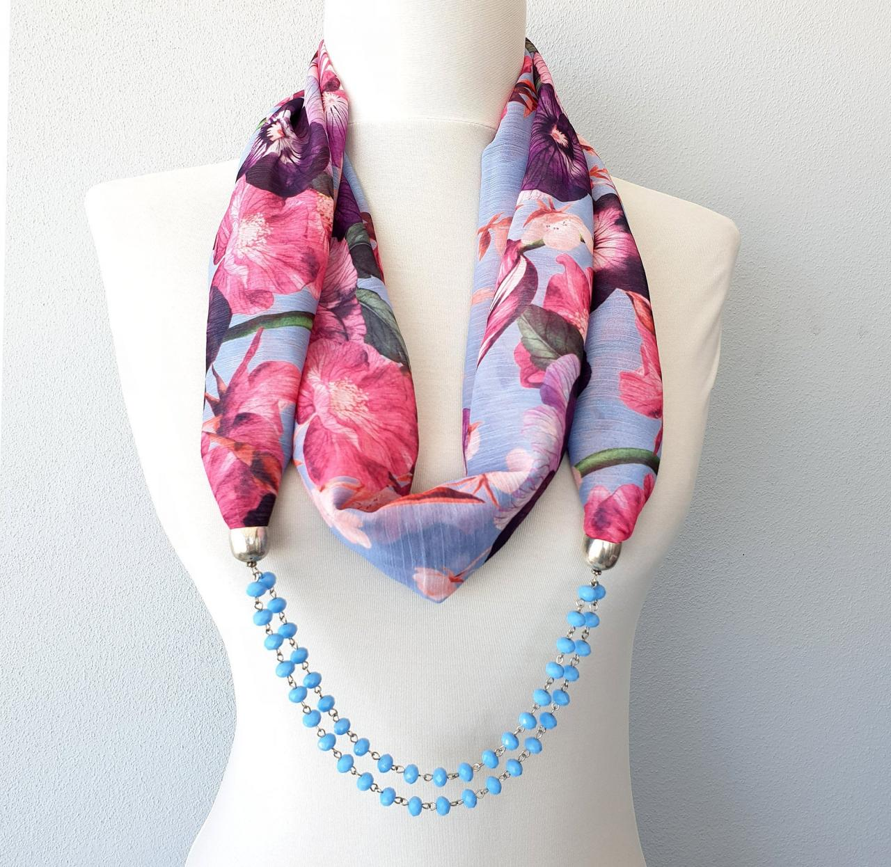 Blue beaded scarf necklace, floral infinity scarf with pansy print, birthday gift, retirement gift for her