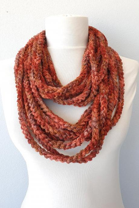 Rust brown scarf necklace, crochet infinity chain scarf, fall fashion scarves for women, gift for her