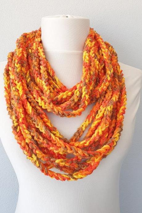 Orange chain infinity scarf, fall crochet scarves for women, family photo prop, gift for her