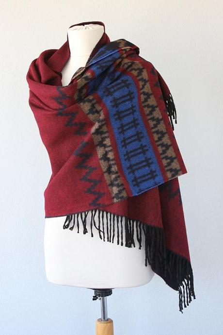 Blanket shawl Oversized winter scarf Large fringed wrap shoulder scarf Burgundy and blue Boho Aztec Autumn fall fashion Christmas gift