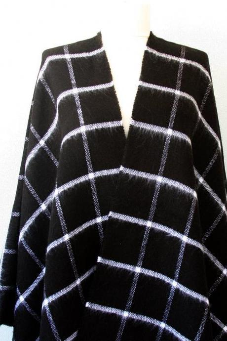 Black and white plaid poncho, buffalo check poncho