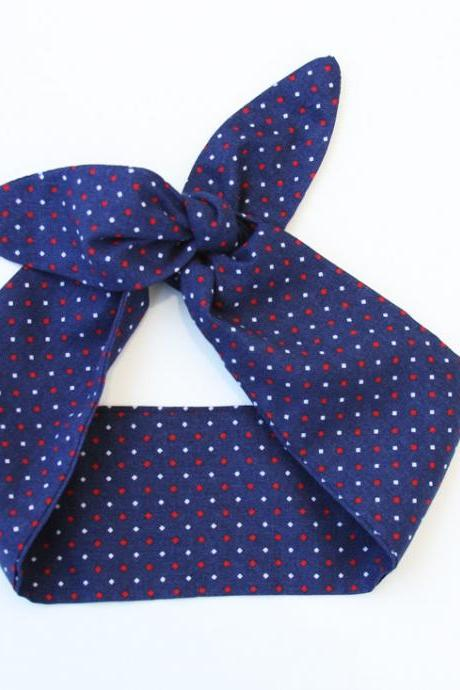 Navy blue headband dolly bow with red and white dots rockabilly pinup