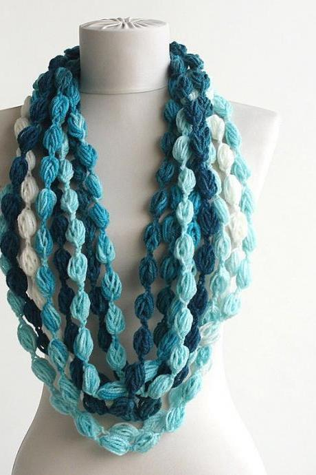 Gift for her, clothing gift, blue infinity scarf, crochet pompom scarf, unique gift idea for women, fall accessories, winter fashion