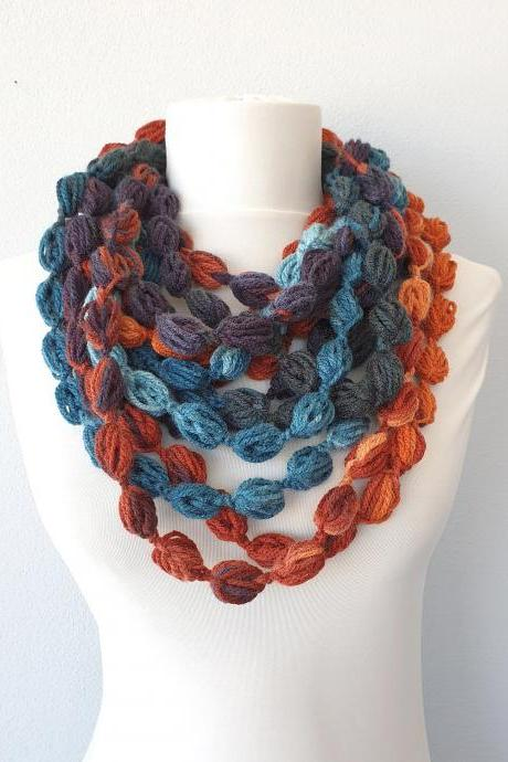 Crochet bubble necklace scarf for women in burnt orange and blue