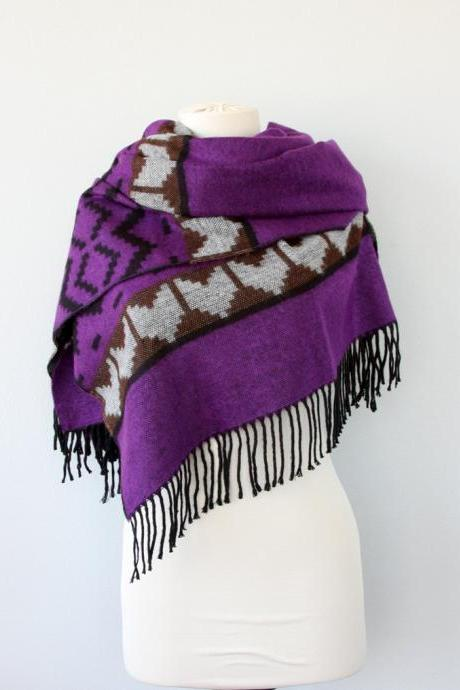Native American style purple scarf, boho chic shawl, tribal winter scarf, Aztec wrap, bohemian geometric hippie clothes