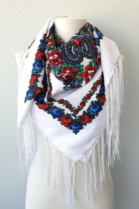 White Russian scarf with blue and red floral print, fringe Ukrainian shawl, babushka scarf
