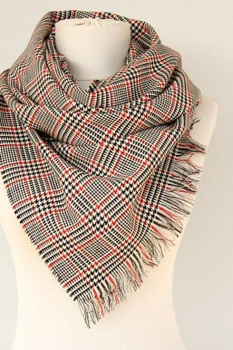 Small blanket scarf Houndstooth wool winter scarf Autumn fall fashion Wool shawl Blanket scarves Winter wrap Unisex scarf