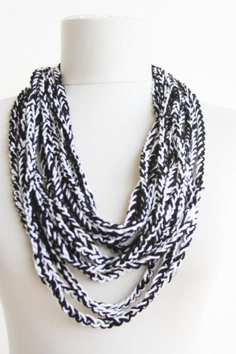 Black white necklace crochet necklace scarf vegan fashion for women christmas gift clothing gift for her
