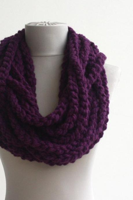Oversized chain scarf infinity scarf chunky loop scarf purple crochet scarf fall autumn scarf fashion scarves for women rope scarf christmas