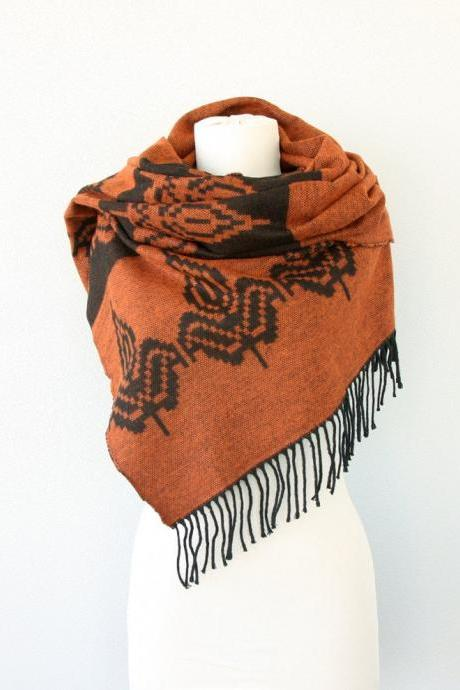 Burnt orange large scarf Boho chic shawl Tribal native Aztec Autumn fall scarf Winter wrap large hippie scarf orange black halloween