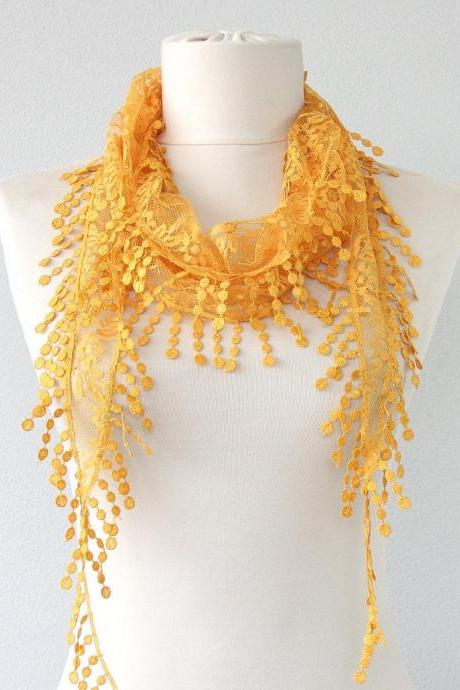 Yellow lace scarf fashion scarves for women fringed scarf christmas gift for her birthday gift coworkers gift belly dance hip scarf boho