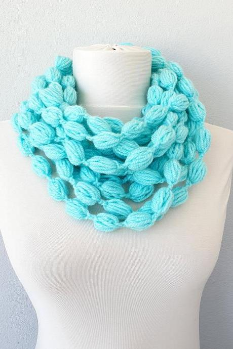 Aqua blue crochet scarf, chain scarf necklace, scarves for women, gift for her, christmas stocking stuffer