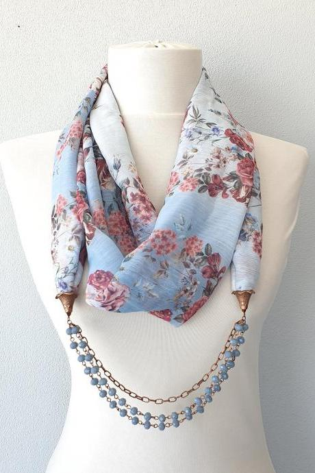 Beaded scarf necklace, baby blue floral infinity scarf, scarves for women, christmas gift for her girlfriend, gift for mom,