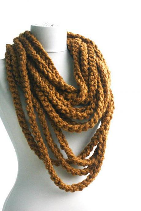 Crochet infinity scarf, chunky infinity scarf, brown circle scarf , chain loop scarf, infinity scarfs, unisex scarves, winter accessories