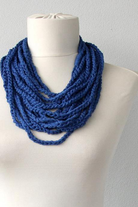 Navy blue necklace scarf crochet loop scarf fiber summer necklace nautical chain necklace layering necklace fashion necklace gift for her