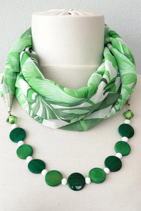 Tropical leaves green scarf necklace