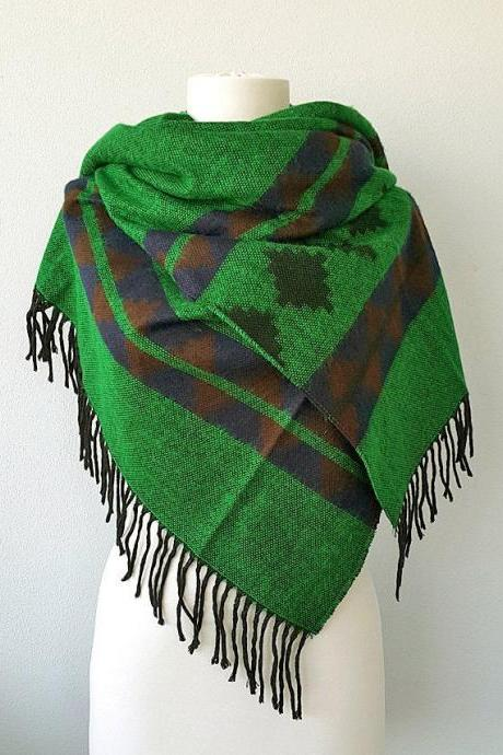 Green blanket scarf Large winter shawl Boho chic scarf Aztec Winter wrap Tribal native pattern Large hippie scarf Geometric wrap