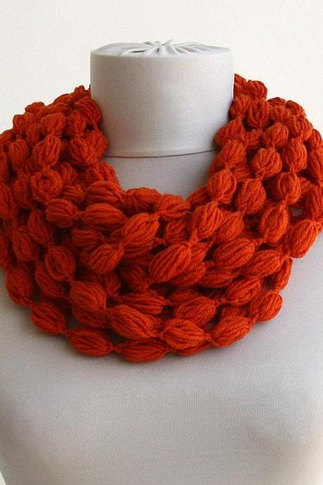 Burnt orange scarf clothing gift for her christmas gift crochet pom pom scarf bubble infinity scarf gift for co worker stocking stuffer