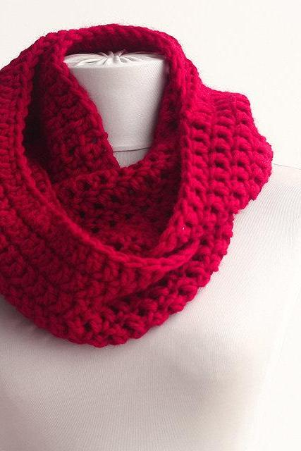 Red infinity scarf chunky scarf crochet scarf womens cowl tube scarf loop scarf circle scarf winter scarves for women gift ideas for her