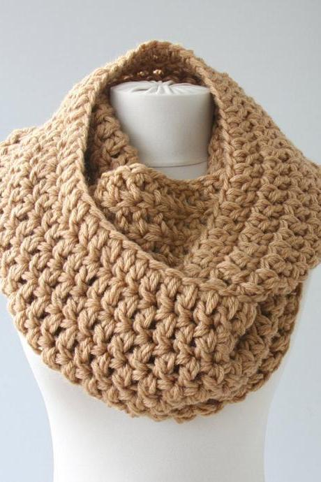 Clothing gift, chunky cowl scarf, crochet loop scarf, beige infinity scarves for men and women, christmas gift