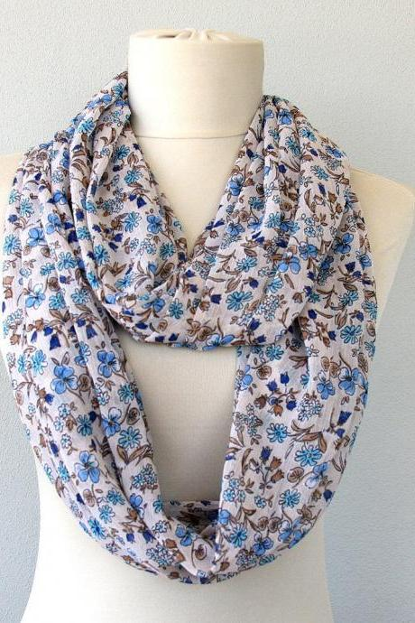 Clothing gift, lightweight infinity scarf with blue floral print,circle scarves for women, christmas gift for her