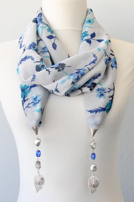 Clothing gift, jewelry scarf necklace, gray and blue floral scarf jewellery, birthday gift, retirement gift, christmas gift for her