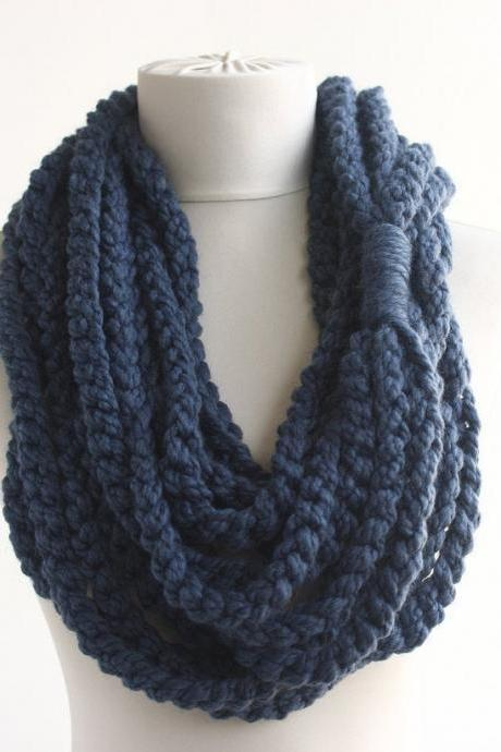 Blue chunky scarf crochet infinity scarf denim blue rope chain scarf fall winter women accessories