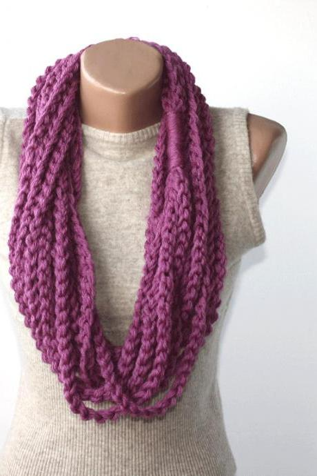 Purple crochet scarf infinity scarf chain scarf fall scarves for women teacher gift idea for her circle scarf chain scarf winter scarf