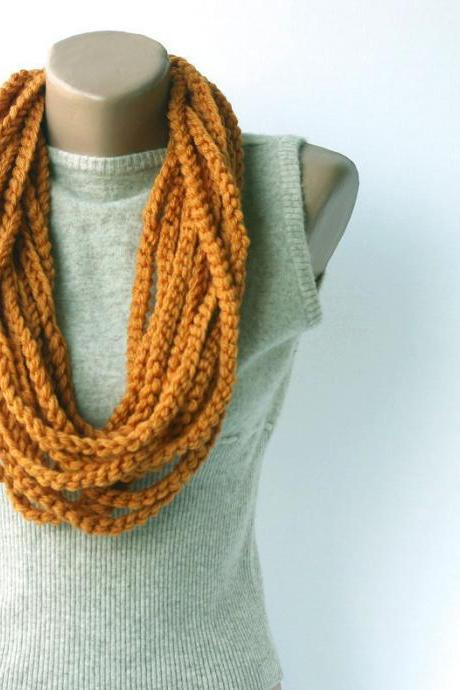 Orange infinity scarf Crochet scarf circle scarf loop cowl crochet neckwarmer gift for her