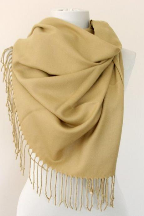 Fall pashmina scarf autumn scarves for women camel thick pashmina shawl christmas gift for her
