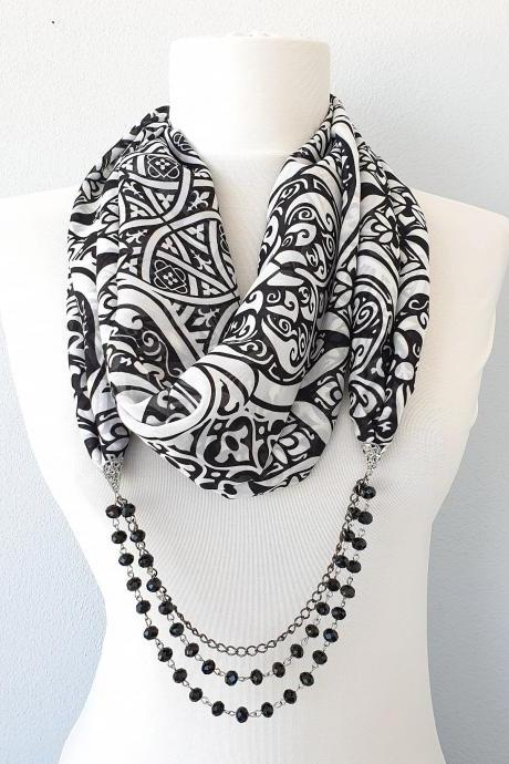 Black white scarf necklace, chiffon beaded scarf, christmas gift for her