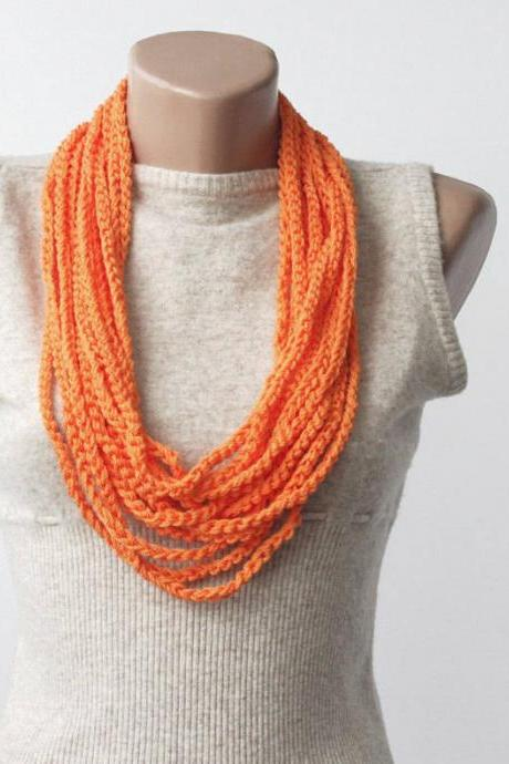 Neon orange scarf necklace skinny summer scarf crochet necklace fashion accessories gift idea for teen girl infinity loop scarf