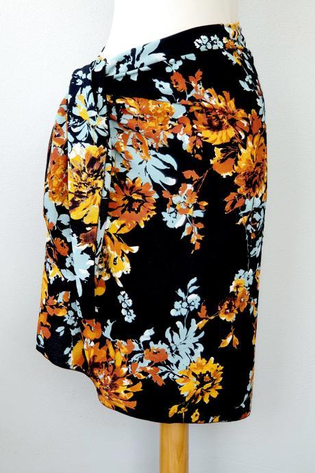 Black floral sarong short, beach cover up, swimsuit cover up