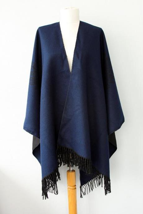 Dark navy blue poncho Autumn fall fashion Aztec poncho tribal cape Women clothings native outerwear Winter poncho Boho Bohemian Solid Plain