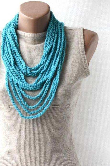 Summer Scarf Infinity scarf necklace blue crochet loop spring summer fashion vegan