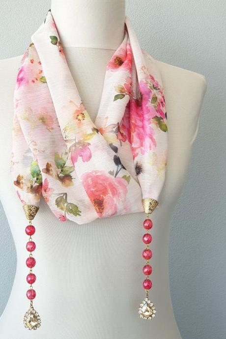 Rhinestone scarf necklace for women, floral lariat necklace