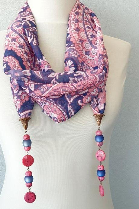 Pink and blue beaded scarf necklace, lariat necklace scarf, necklaces for women, jewelry gift for allergic to metal