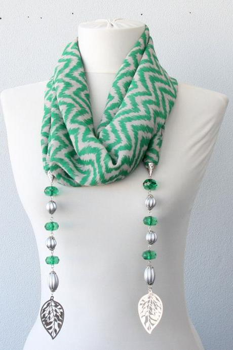 Green necklace scarf , leaf charm necklace, chevron scarf necklace, mothers day gift for mom, gift for her