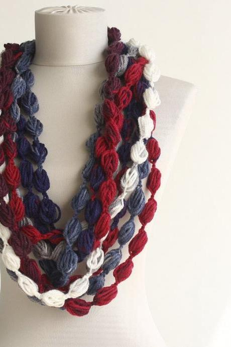 Crochet infinity scarf in navy blue red and white, bubble crochet scarf, fall scarves for women, christmas gift for her
