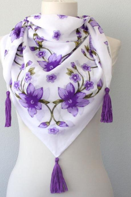 Purple floral boho chic scarf women, bohemian scarf, cotton gauze summer scarf, unique gift for her, boho accessories, gypsy style
