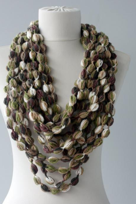 Crochet scarf infinity scarf circle scarf bubble scarf fall fashion scarves for women loop scarf chain scarf christmas gift for her green
