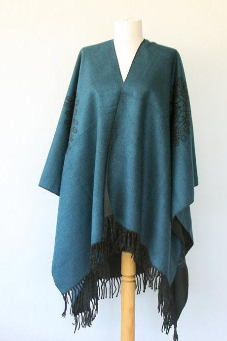 Fringe poncho Autumn fall accessories Southwestern Long poncho Winter wrap Blanket poncho Native clothing Large shawl Teal blue