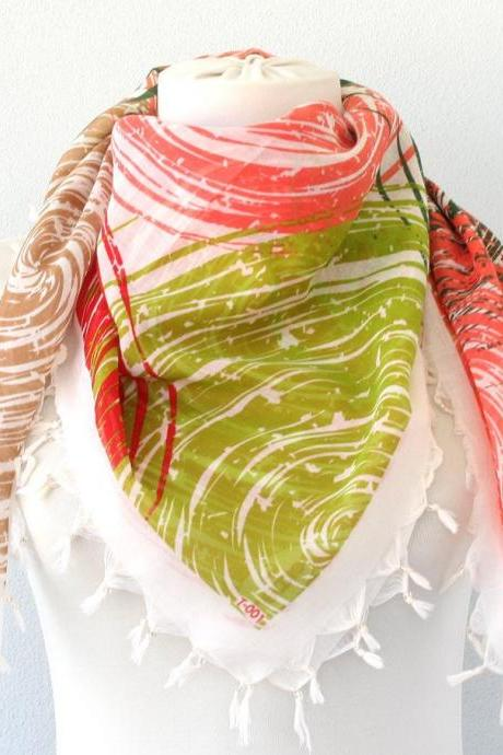 Red and green square scarf, beaded fringe scarf, ladies scarves for women, gift for girlfriend