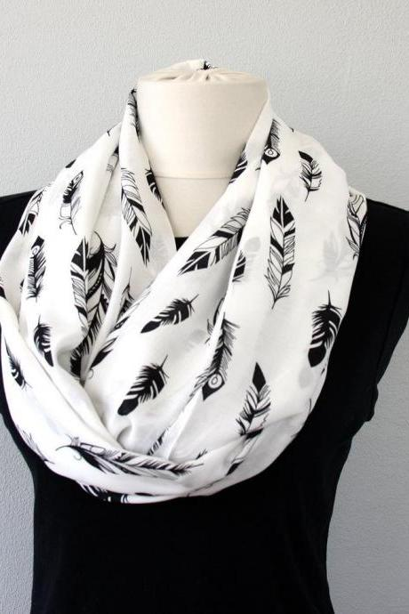 Feather black and white scarf, boho infinity scarves for women