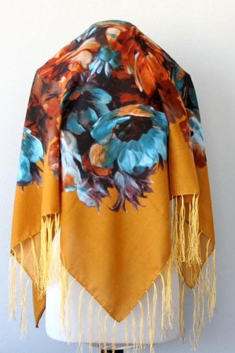 Mothers day gift for her mustard yellow scarf floral fringe shawl fringing scarf winter fashion scarves for women birthday gift