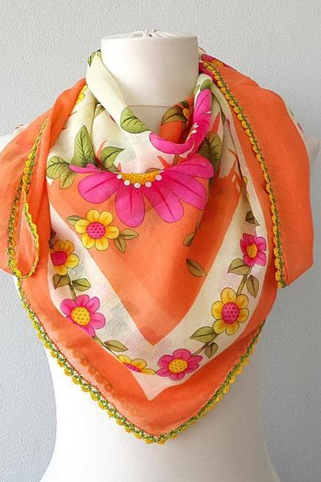 Cotton ethnic scarf Handmade crochet lace Floral print scarf Summer wrap traditional shawl Oya Yemeni Yazma Head scarf Orange pink yellow